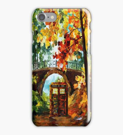 Abandoned time travel phone box under the bridge painting iPhone Case/Skin