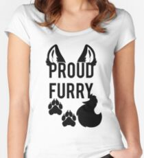 PROUD FURRY   -black- Women's Fitted Scoop T-Shirt