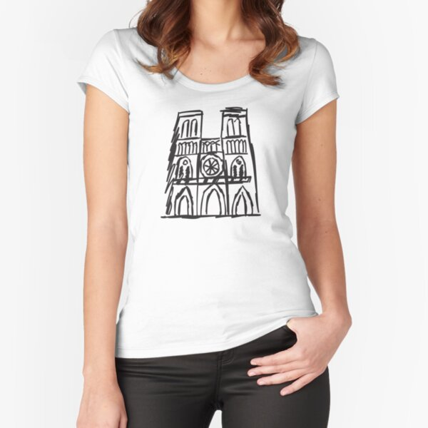 Notre Dame, I Love Notre Dame, Pray For Notre Dame, Paris, Notre Dame Fire Fitted Scoop T-Shirt