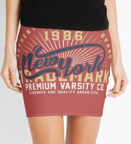 New York Vintage Hand Lettering College Design Mini Skirt