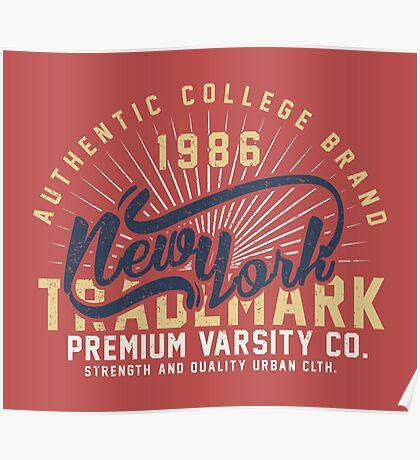New York Vintage Hand Lettering College Design Poster