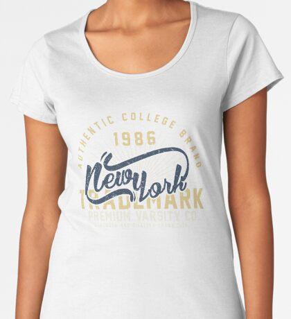 New York Vintage Hand Lettering College Design Premium Scoop T-Shirt
