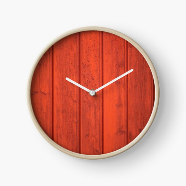 Red painted wooden wall clock Clock