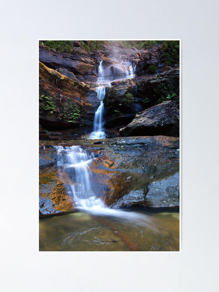 Alternate view of Upper Wentworth Falls, Blue Mountains, Australia Poster