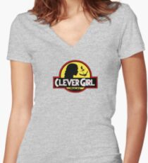 Mother of dragons - clever girl yellow with grey and white background Women's Fitted V-Neck T-Shirt