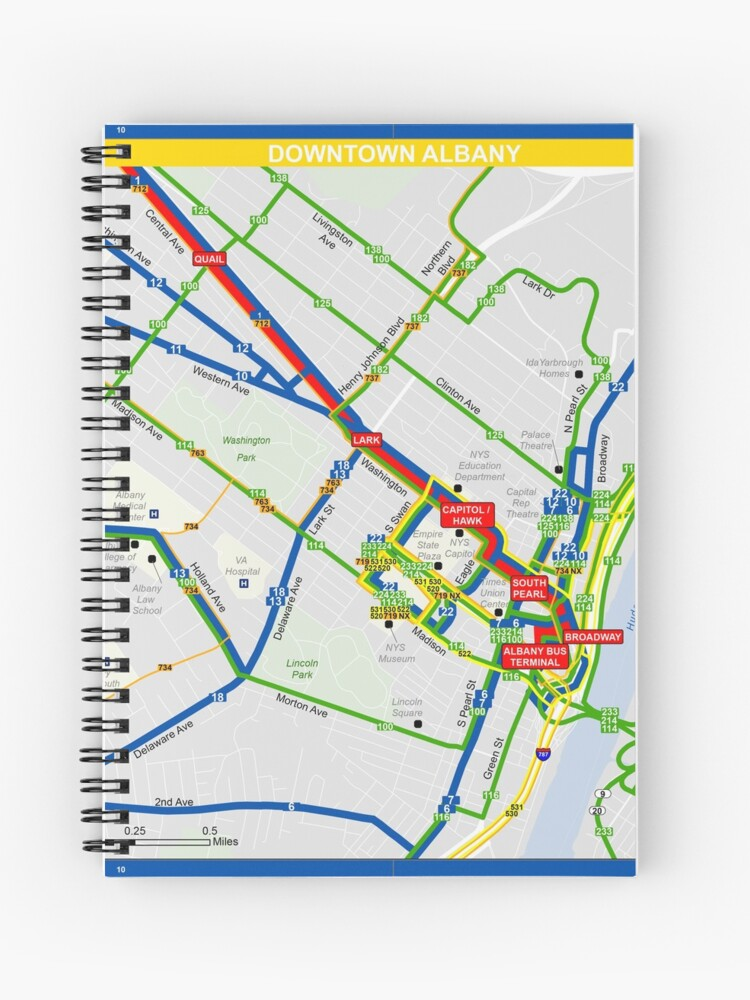United States of America - Albany - Downtown Map - HD | Spiral Notebook