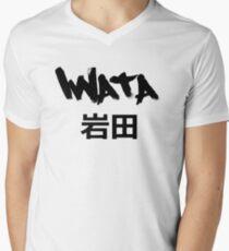 Iwata White Mens V-Neck T-Shirt