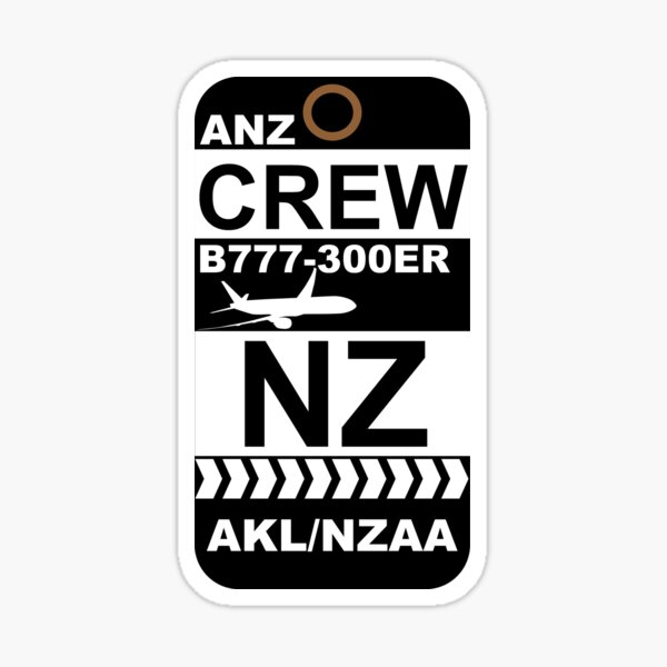 NZ Boeing 777-300ER Crew AKL  Sticker