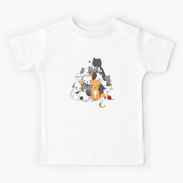 Cartoon Cute N-y-a-n Cat Kids T-Shirts Short Sleeve Tees Summer Tops for Youth//Boys//Girls