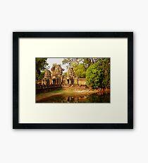 Monks walking at Preah Khan Framed Print