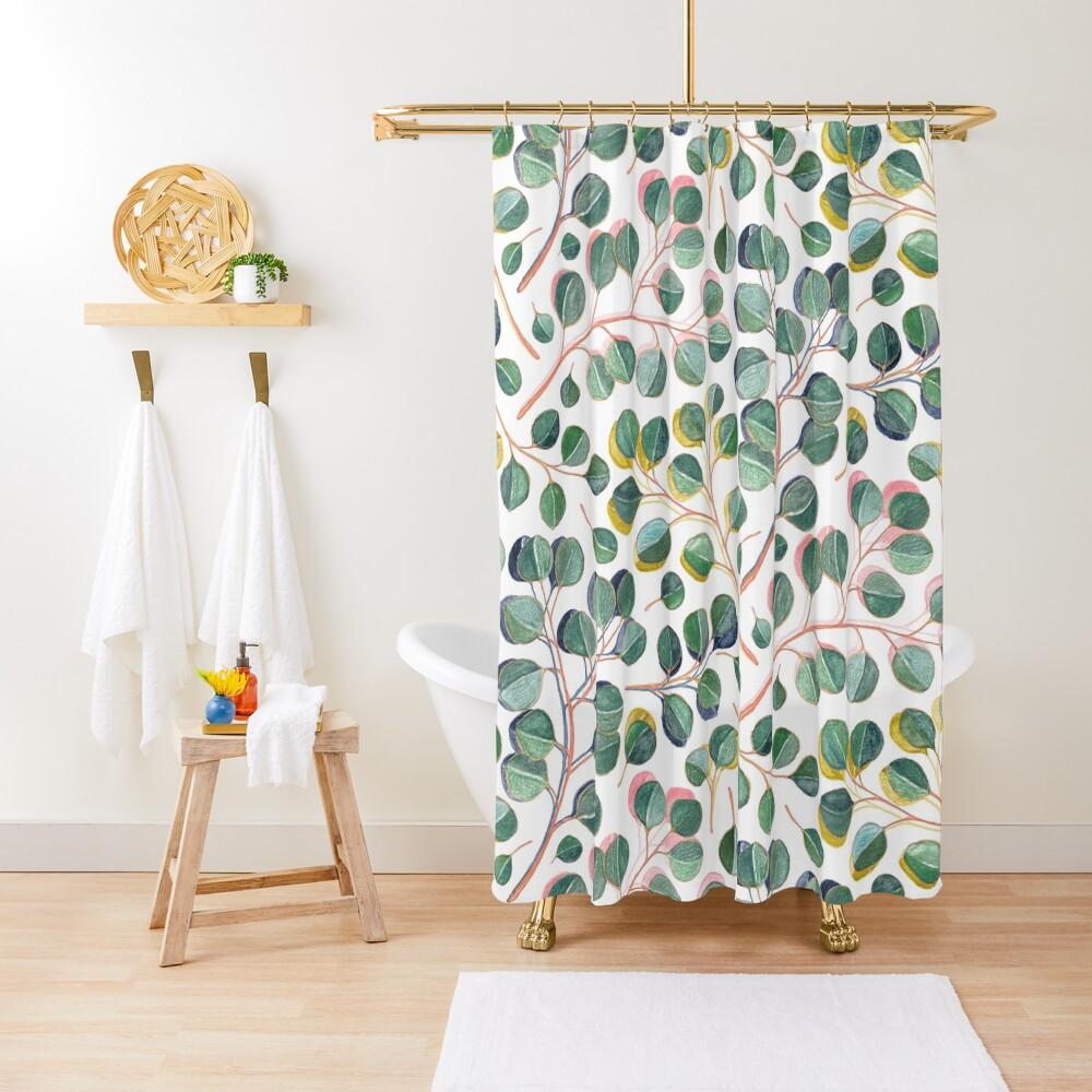 Simple Silver Dollar Eucalyptus Leaves Shower Curtain