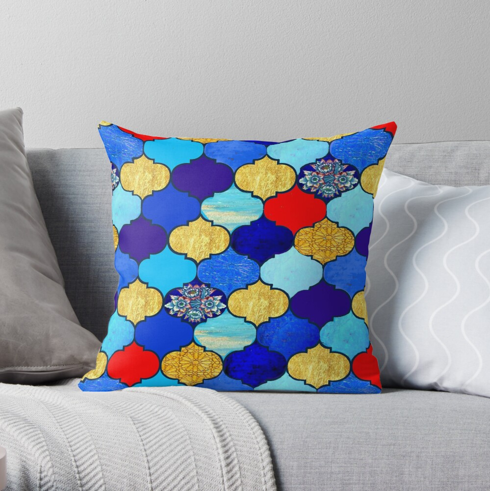 moroccan tiles , red, aqua, blue and gold moroccan tiled design by Magenta Rose Designs Throw Pillow