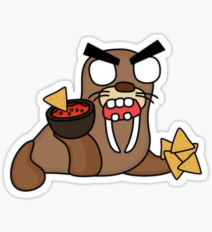 angry zombie nacho walrus Glossy Sticker
