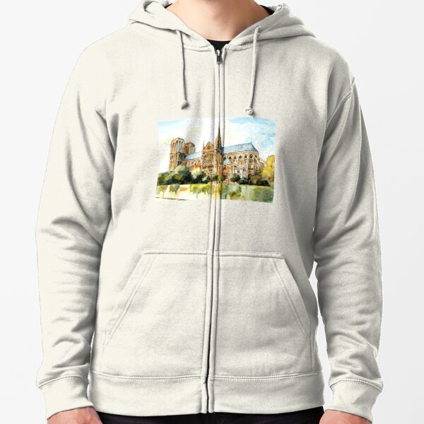 Remembering Notre Dame Paris France Zipped Hoodie