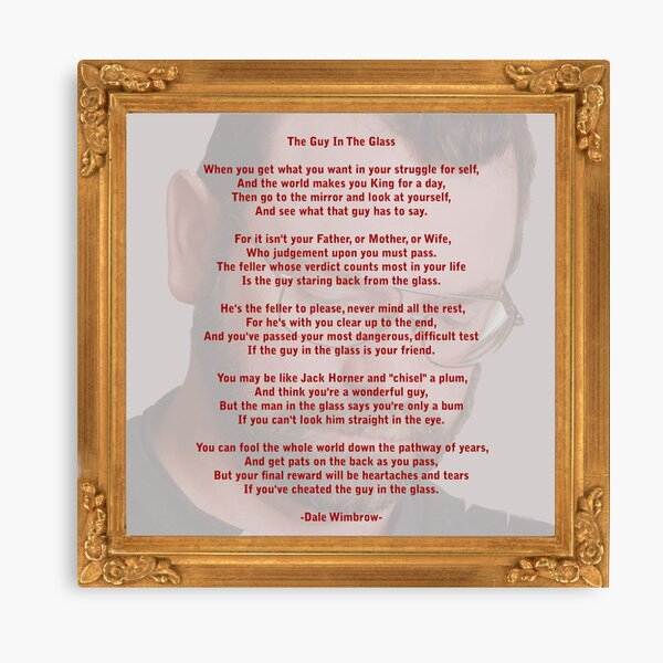 The Guy In The Glass Canvas Print