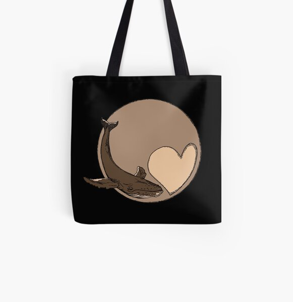 Pluto: Whale and Heart All Over Print Tote Bag