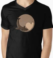 Pluto: Whale and Heart Men's V-Neck T-Shirt