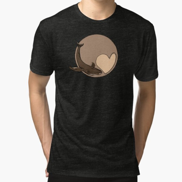 Pluto: Whale and Heart Tri-blend T-Shirt