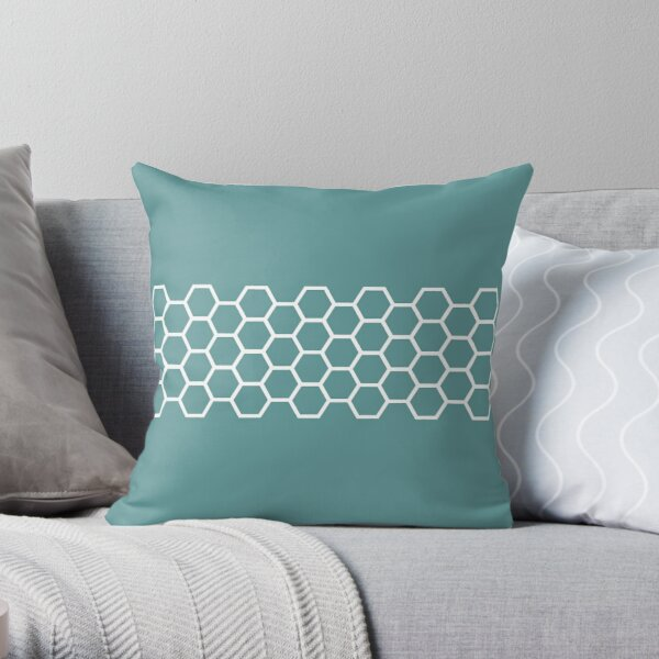 Honeycomb Stripe in White on Teal Blue-Green. Minimalist. Modern. Geometric. Clean.  Throw Pillow