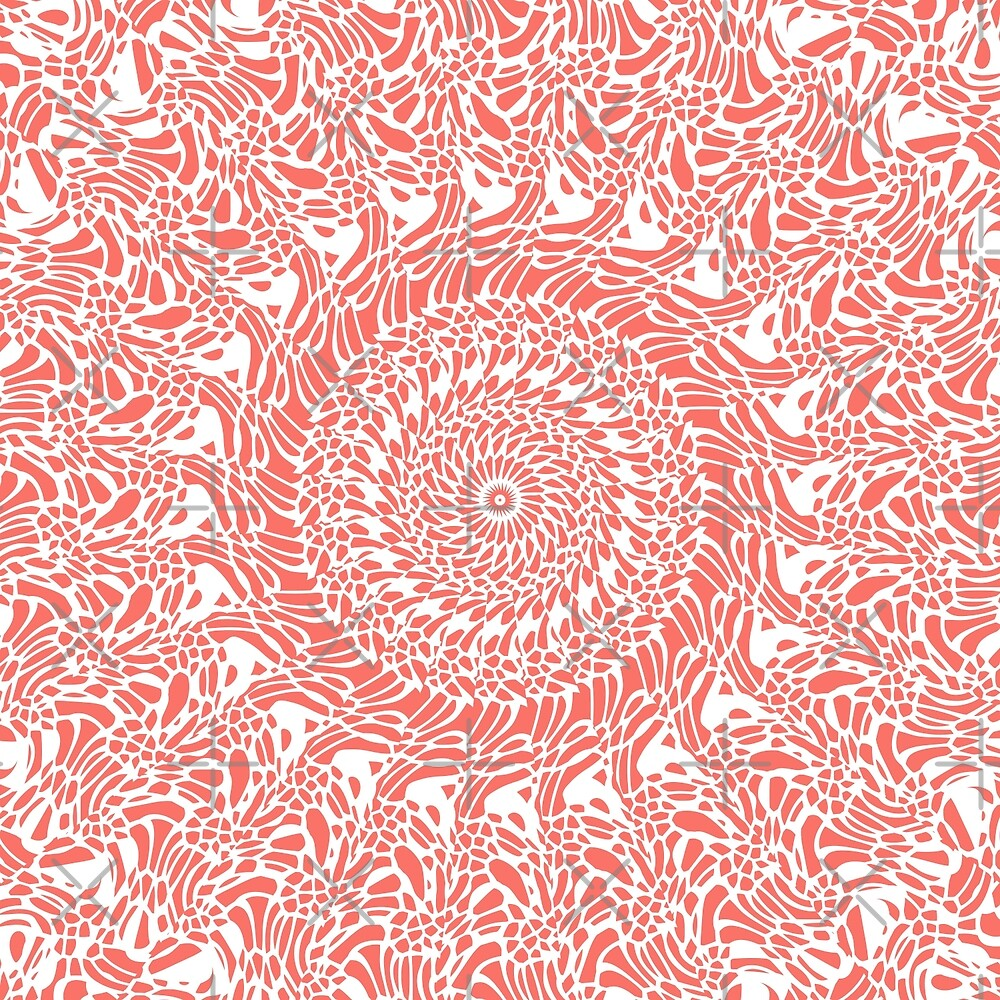 Coral and White Mandala by Kelly Dietrich