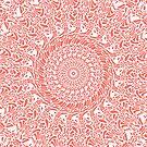 Korallenrote und weiße Mandala von Kelly Dietrich