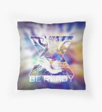 BE READY CAT (colored) Throw Pillow