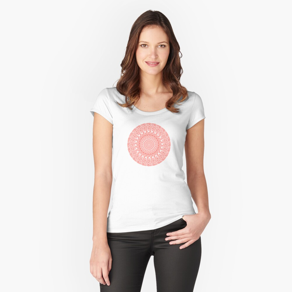 Coral and White Mandala Fitted Scoop T-Shirt