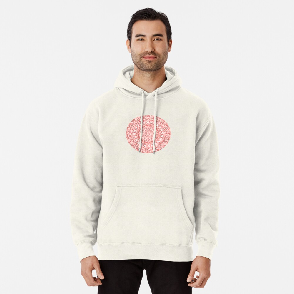 Coral and White Mandala Pullover Hoodie