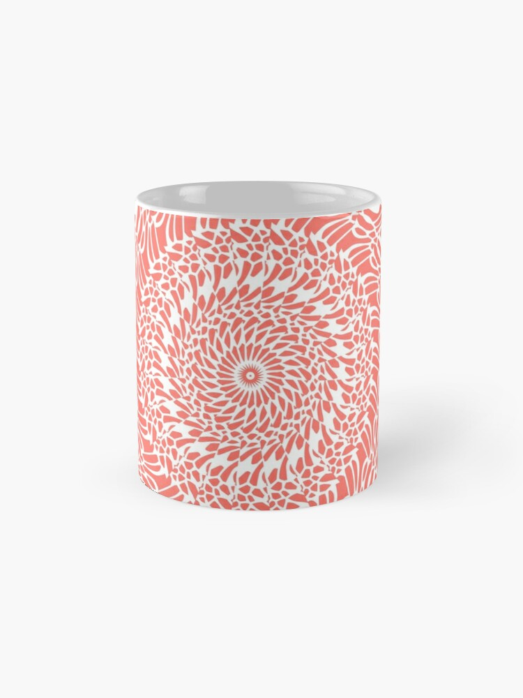 Alternate view of Coral and White Mandala Mugs