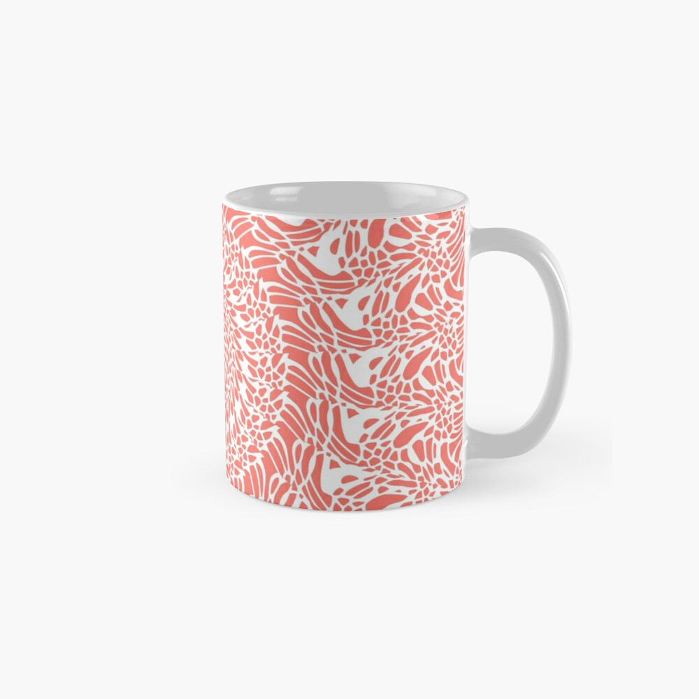 Coral and White Mandala Mugs