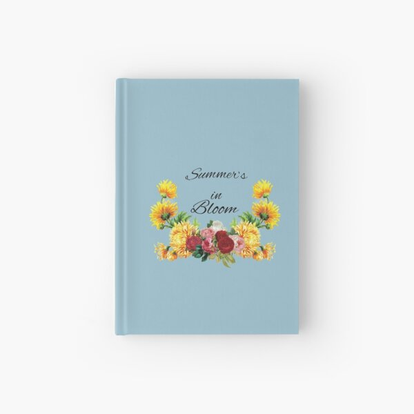 Summer's in Bloom Red and Pink Roses with Yellow Flowers Hardcover Journal