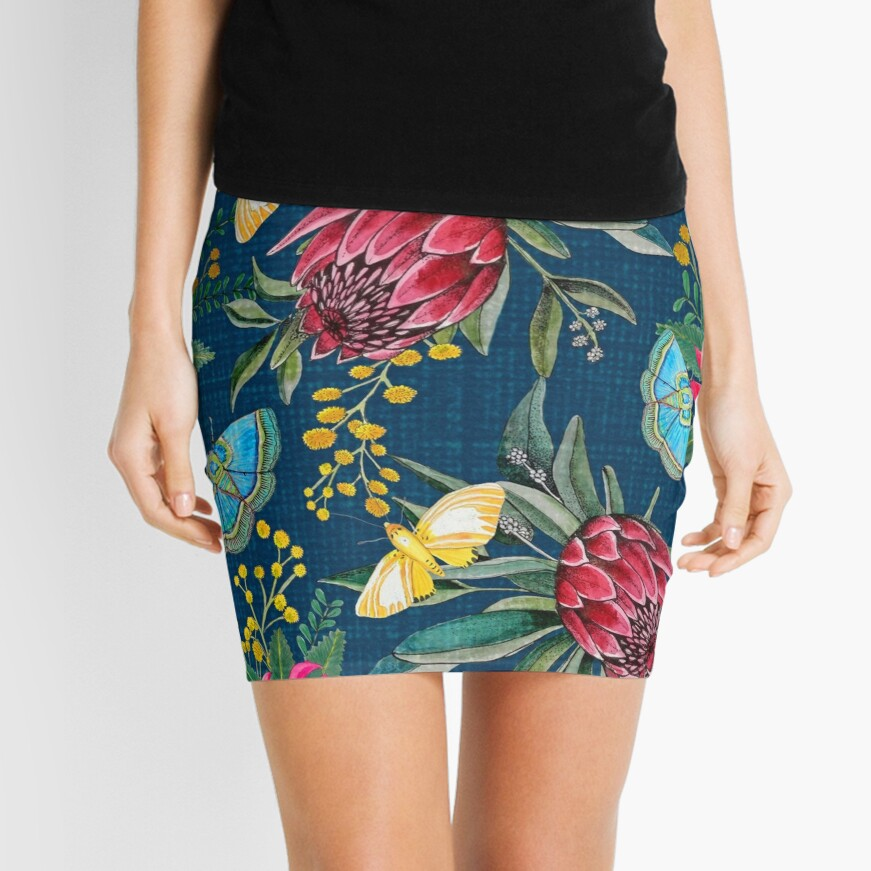 Australian flowers and butterfly moths painted in watercolor Mini Skirt