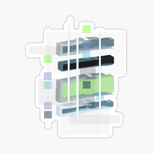 floating rectangles Sticker