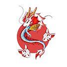 Drache in der Kitsune-Maske von KOKeefeArt
