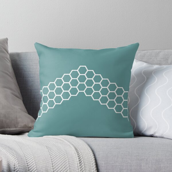 Honeycomb Arrow in White on Teal Blue-Green. Minimalist. Modern. Geometric. Clean.  Throw Pillow