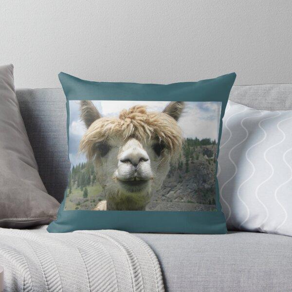 Floppy-Haired Camel Saying Hello Throw Pillow
