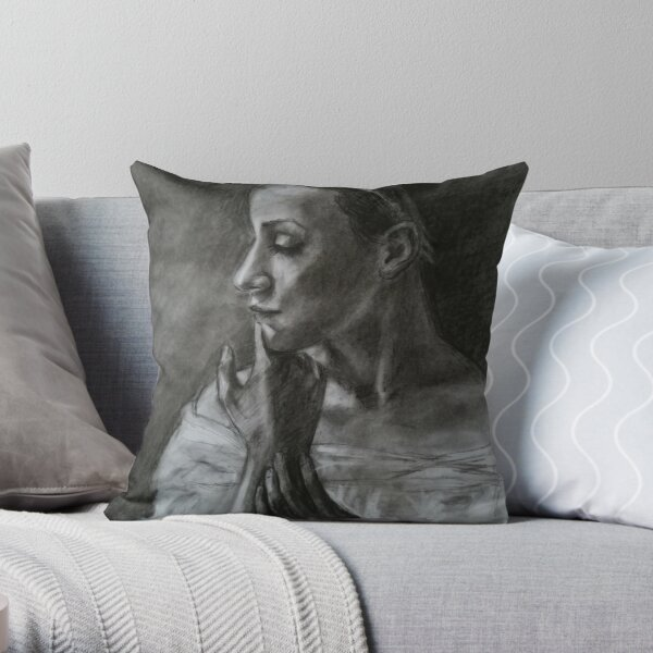 Portrait of a ballerina Throw Pillow