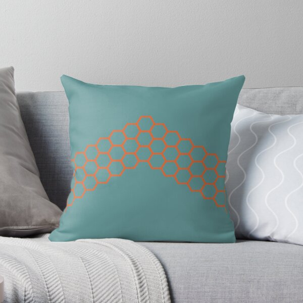 Honeycomb Arrow in Dark Orange on Teal Blue-Green. Minimalist. Modern. Geometric. Clean.  Throw Pillow