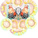 Bantam Roosters with Sunflowers by MsSexyBetsy