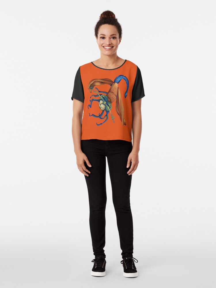 Alternate view of Flying bug with orange wings Chiffon Top