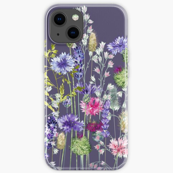 Flower Meadow - Cornflowers, Thistles, Lavender, Heucherella & Grasses iPhone Soft Case