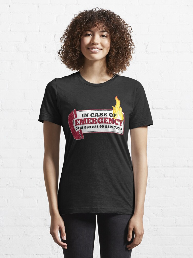 Alternate view of It Crowd Inspired - New Emergency Number - 0118 999 881 99 9119 725 3 - Moss and the Fire Essential T-Shirt