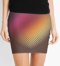 Linear Gradient on Halftone Heart (Rocky Road Brown) Mini Skirt