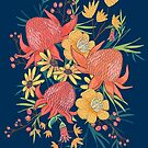 Australian Florals on Blue by latheandquill