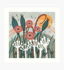 Meadow Breeze Floral Illustration Art Print