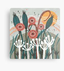 Meadow Breeze Floral Illustration Metal Print