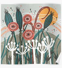 Meadow Breeze Floral Illustration Poster