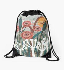 Meadow Breeze Floral Illustration Drawstring Bag