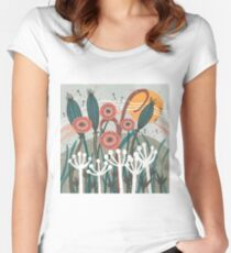 Meadow Breeze Floral Illustration Fitted Scoop T-Shirt
