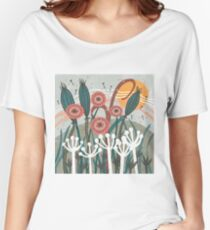 Meadow Breeze Floral Illustration Relaxed Fit T-Shirt